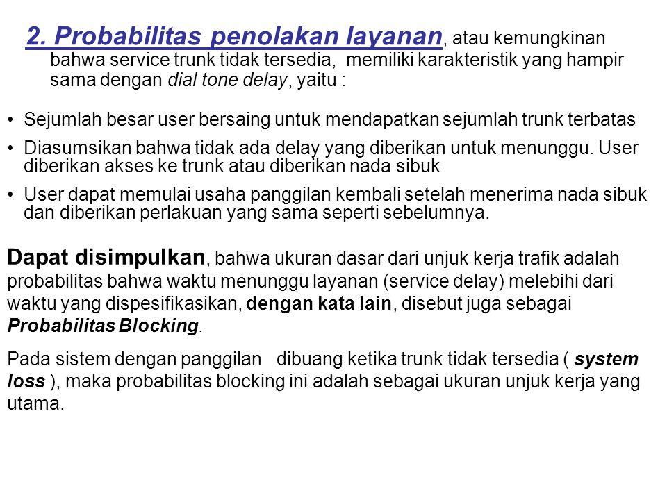 Parameter 2 Unjuk Kerja Trafik Parameter tingkat layanan atau parameter unjuk kerja layanan ditinjau dari sisi trafik telekomunikasi dapat dikategorik