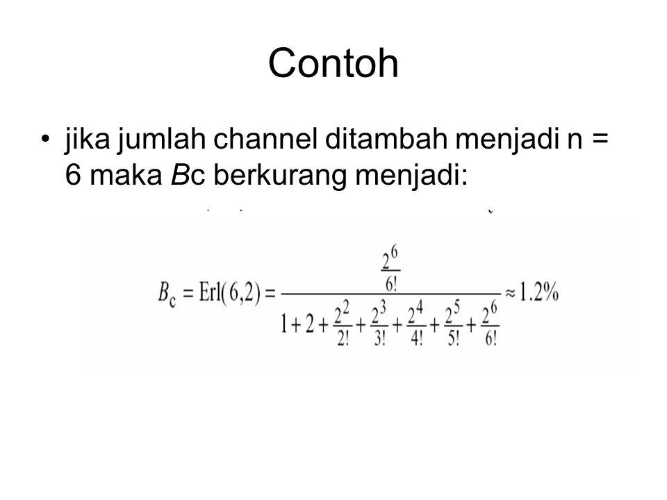 Contoh •Misalkan bahwa sistim mempunyai channel n=4, trafik yg ditawarkan adalah a = 2.0 erlang. Kemudian kemungkinan terjadinya bloking panggilan ada