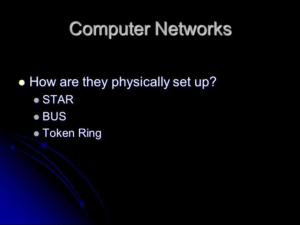 Computer Networks  How are they physically set up?  STAR  BUS  Token Ring