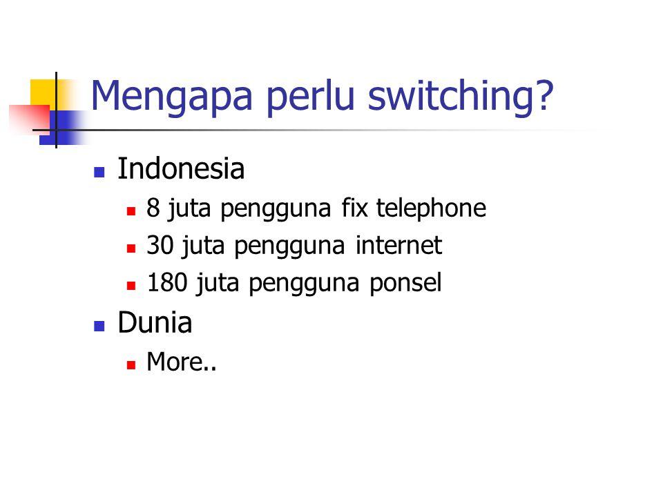 Mengapa perlu switching?  Indonesia  8 juta pengguna fix telephone  30 juta pengguna internet  180 juta pengguna ponsel  Dunia  More..