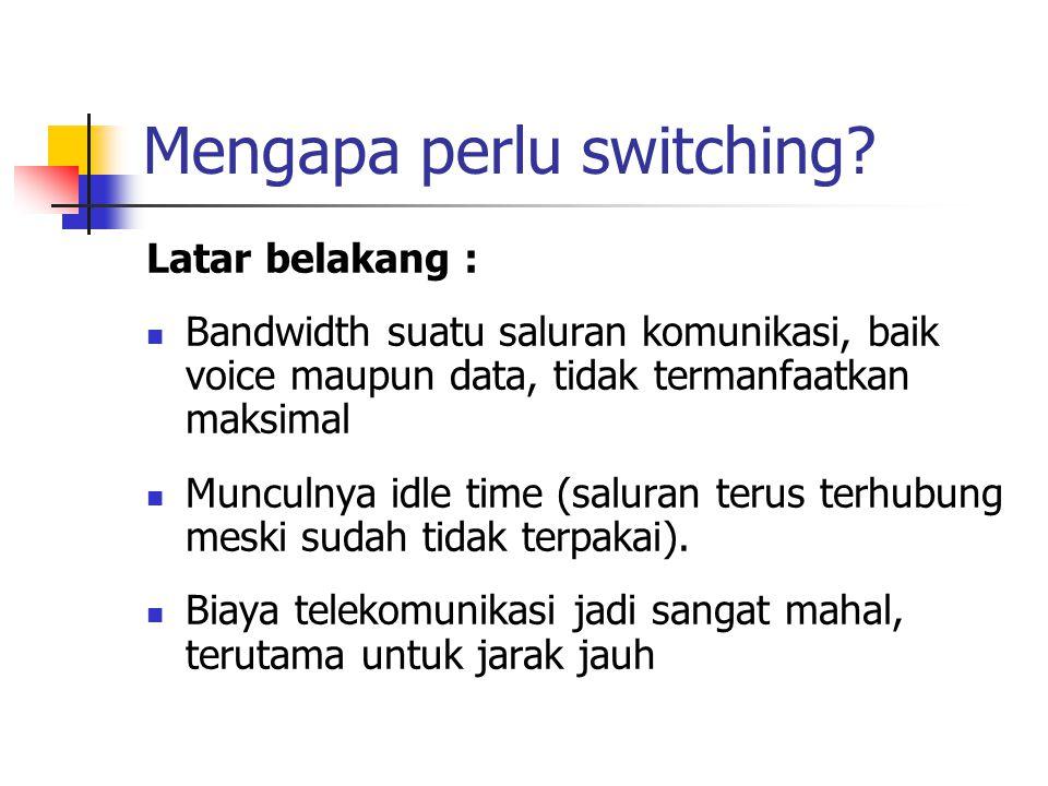 Mengapa perlu switching? Latar belakang :  Bandwidth suatu saluran komunikasi, baik voice maupun data, tidak termanfaatkan maksimal  Munculnya idle