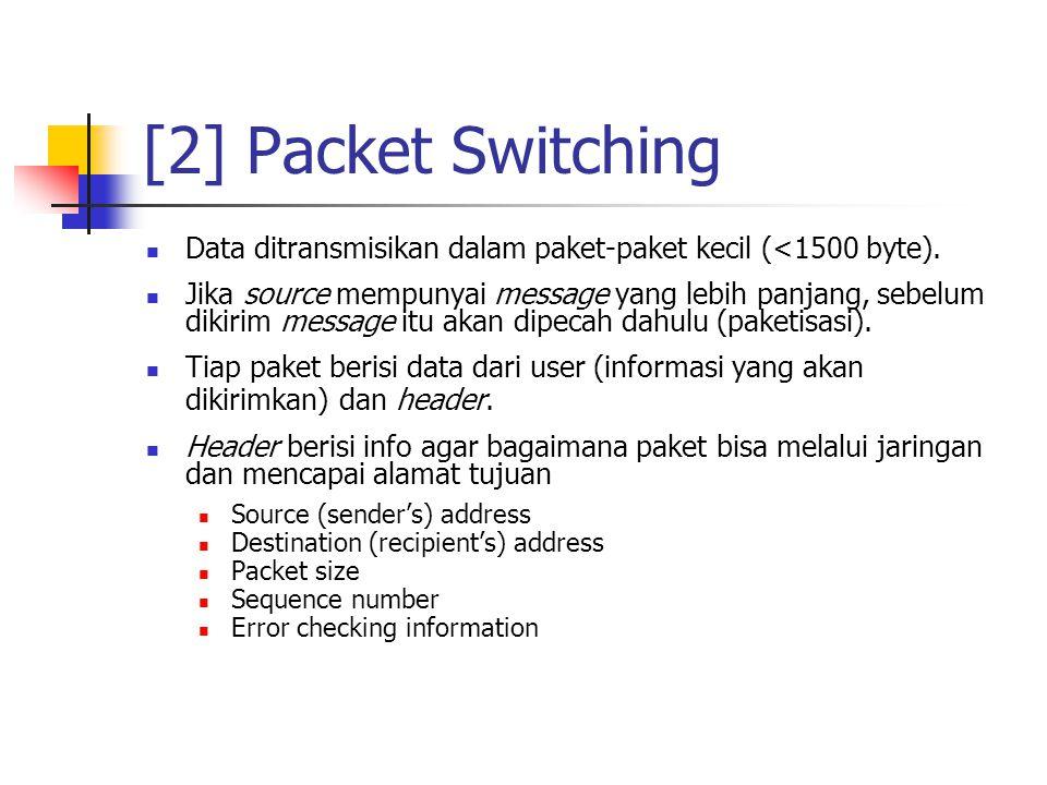  Data ditransmisikan dalam paket-paket kecil (<1500 byte).  Jika source mempunyai message yang lebih panjang, sebelum dikirim message itu akan dipec