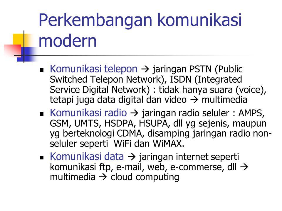 Perkembangan komunikasi modern  Komunikasi telepon  jaringan PSTN (Public Switched Telepon Network), ISDN (Integrated Service Digital Network) : tid