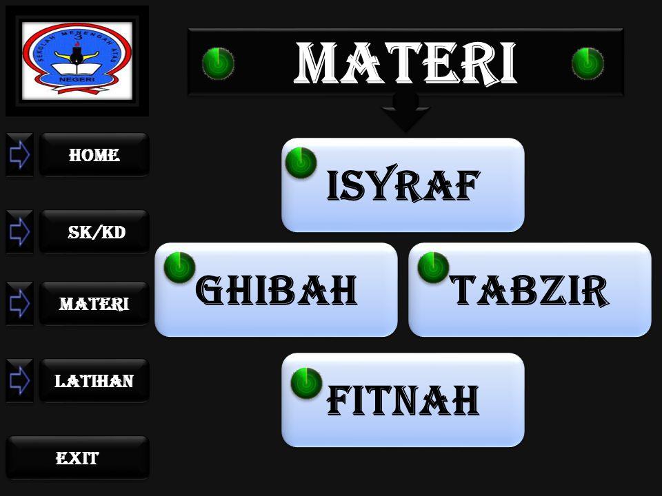 home sk/kd materi LATIHAN exit ISYRAF FITNAH TABZIR GHIBAH MATERI