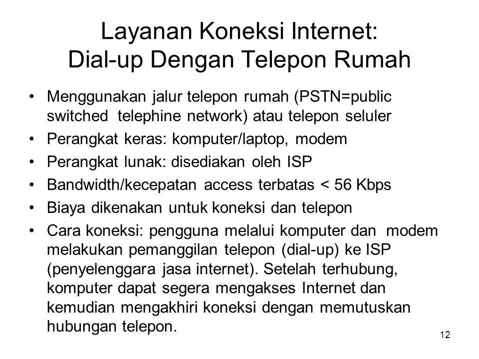 Layanan Koneksi Internet: Dial-up Dengan Telepon Rumah •Menggunakan jalur telepon rumah (PSTN=public switched telephine network) atau telepon seluler