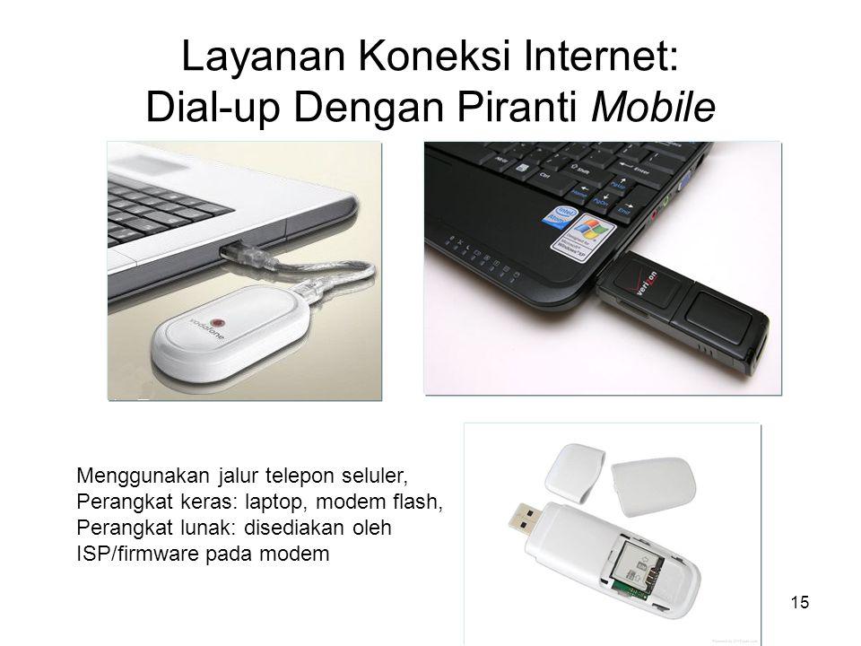 15 Layanan Koneksi Internet: Dial-up Dengan Piranti Mobile Menggunakan jalur telepon seluler, Perangkat keras: laptop, modem flash, Perangkat lunak: d