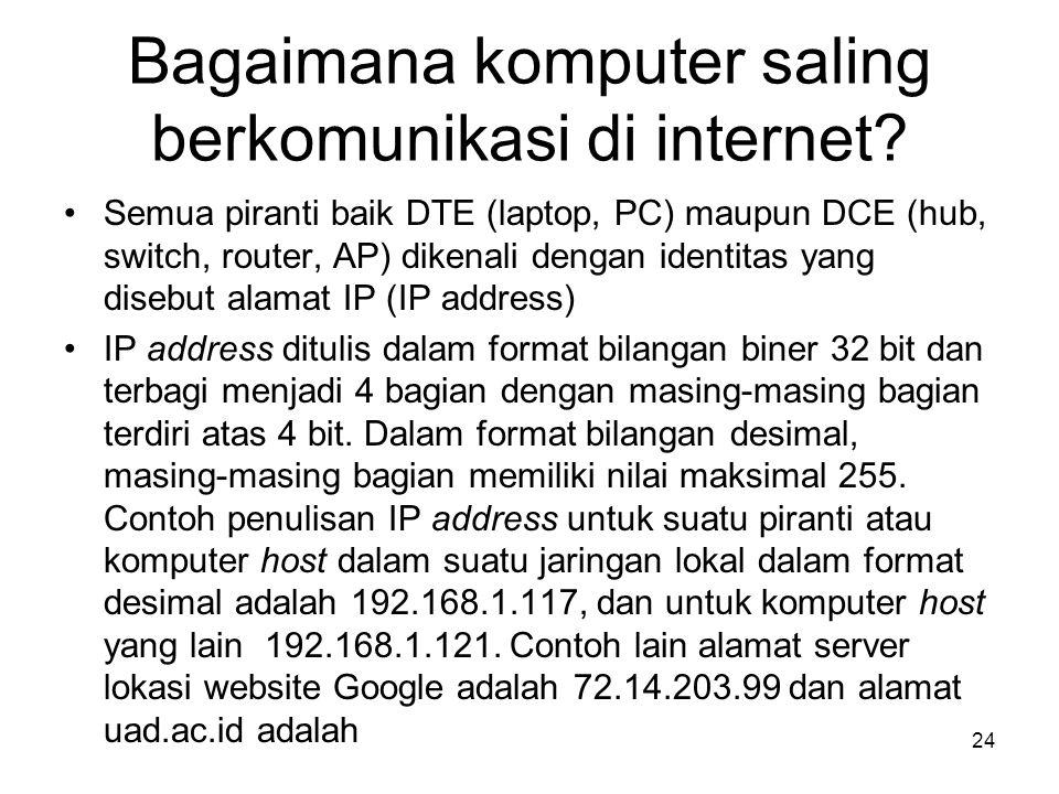 Bagaimana komputer saling berkomunikasi di internet? •Semua piranti baik DTE (laptop, PC) maupun DCE (hub, switch, router, AP) dikenali dengan identit