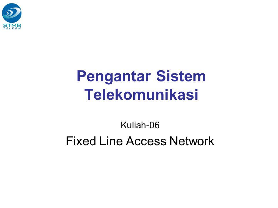 Access Network (Jaringan Akses) Penghubung antara CPE dengan Core Network yg berfungsi menyalurkan informasi/data dari CPE ke Core Network dan sebaliknya SM241013 - Pengantar Sistem Telekomunikasi Semester genap 2007-2008 2 Transport (Core Network) Terminal (CPE) Access Network CPE = Customer Premises Equipment