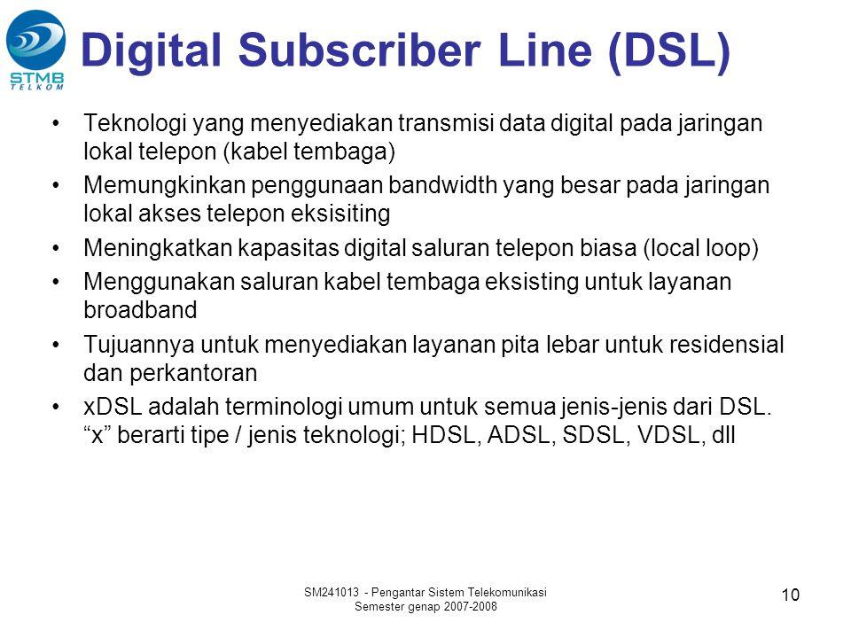 Digital Subscriber Line (DSL) •Teknologi yang menyediakan transmisi data digital pada jaringan lokal telepon (kabel tembaga) •Memungkinkan penggunaan bandwidth yang besar pada jaringan lokal akses telepon eksisiting •Meningkatkan kapasitas digital saluran telepon biasa (local loop) •Menggunakan saluran kabel tembaga eksisting untuk layanan broadband •Tujuannya untuk menyediakan layanan pita lebar untuk residensial dan perkantoran •xDSL adalah terminologi umum untuk semua jenis-jenis dari DSL.