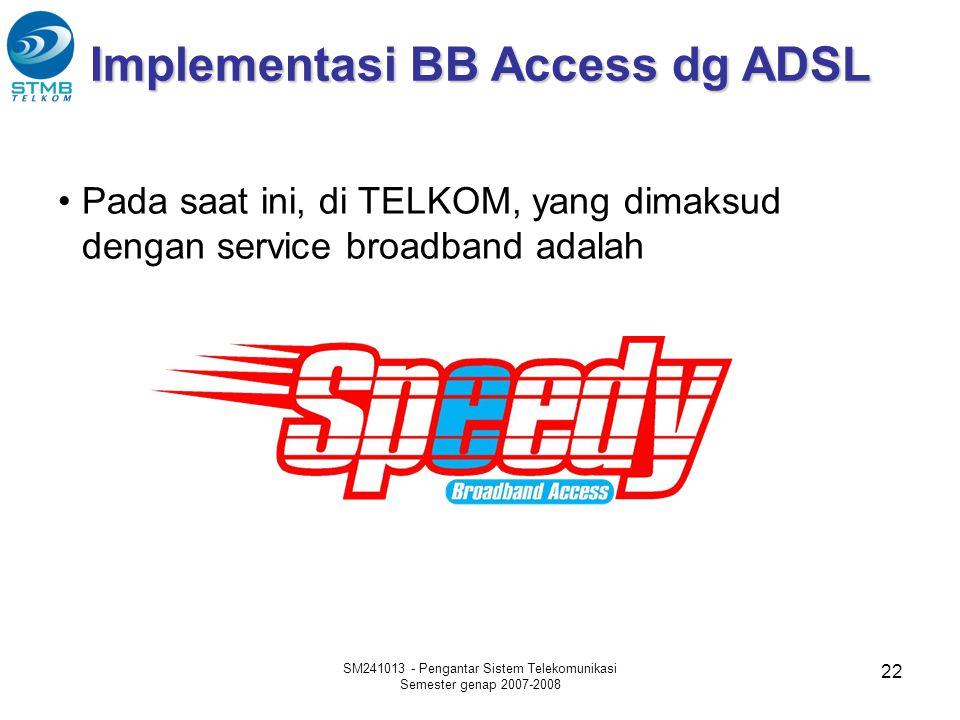 22 Implementasi BB Access dg ADSL •Pada saat ini, di TELKOM, yang dimaksud dengan service broadband adalah