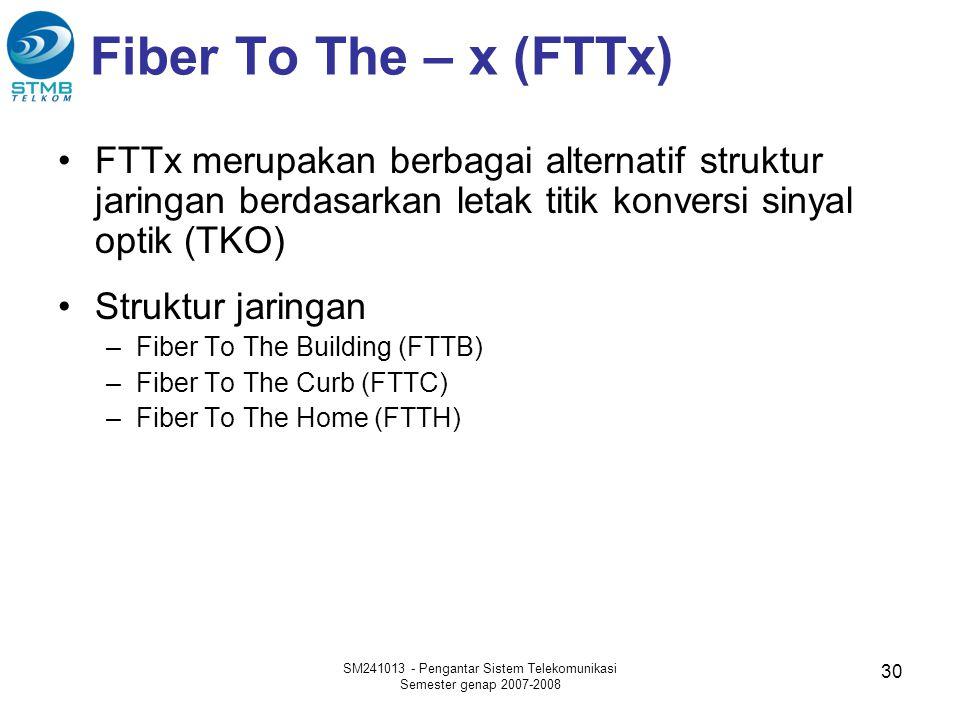 Fiber To The – x (FTTx) •FTTx merupakan berbagai alternatif struktur jaringan berdasarkan letak titik konversi sinyal optik (TKO) •Struktur jaringan –Fiber To The Building (FTTB) –Fiber To The Curb (FTTC) –Fiber To The Home (FTTH) SM241013 - Pengantar Sistem Telekomunikasi Semester genap 2007-2008 30