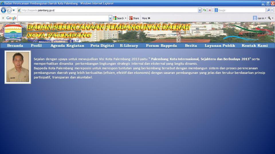 Sejalan dengan upaya untuk mewujudkan Visi Kota Palembang 2013 yaitu Palembang Kota Internasional, Sejahtera dan Berbudaya 2013 serta memperhatikan dinamika perkembangan lingkungan strategis internal dan eksternal yang begitu dinamis.