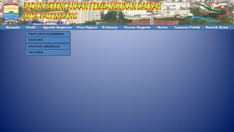 Beranda Profil Agenda Kegiatan Peta Digital E-Library Forum Bappeda Berita Layanan Publik Kontak Kami PROFIL KOTA PALEMBANG VISI & MISI STRUKTUR ORGANISASI UNIT KERJA