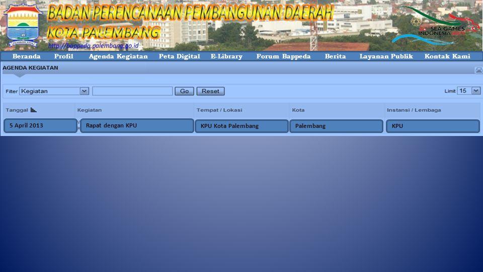 Beranda Profil Agenda Kegiatan Peta Digital E-Library Forum Bappeda Berita Layanan Publik Kontak Kami PalembangKPUKPU Kota Palembang Rapat dengan KPU5 April 2013