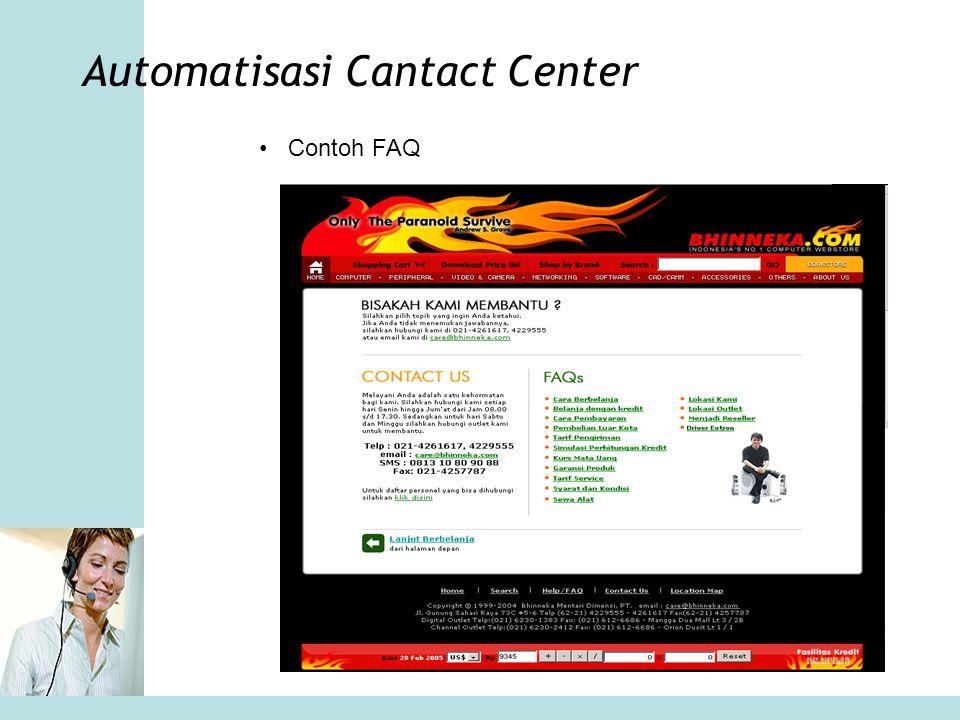 Automatisasi Cantact Center •Contoh FAQ