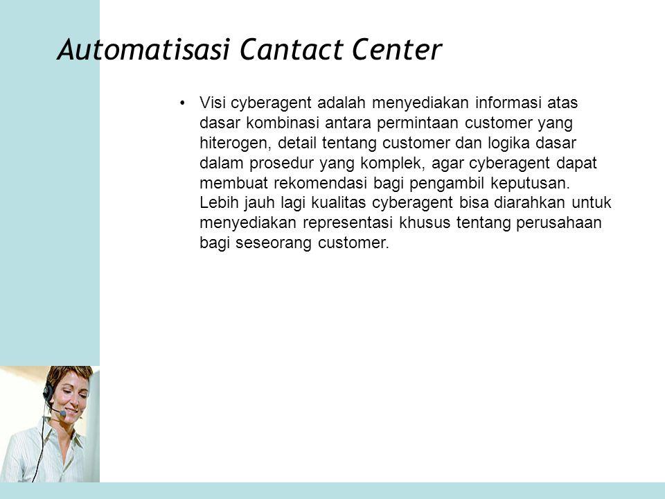 Automatisasi Cantact Center •Visi cyberagent adalah menyediakan informasi atas dasar kombinasi antara permintaan customer yang hiterogen, detail tenta