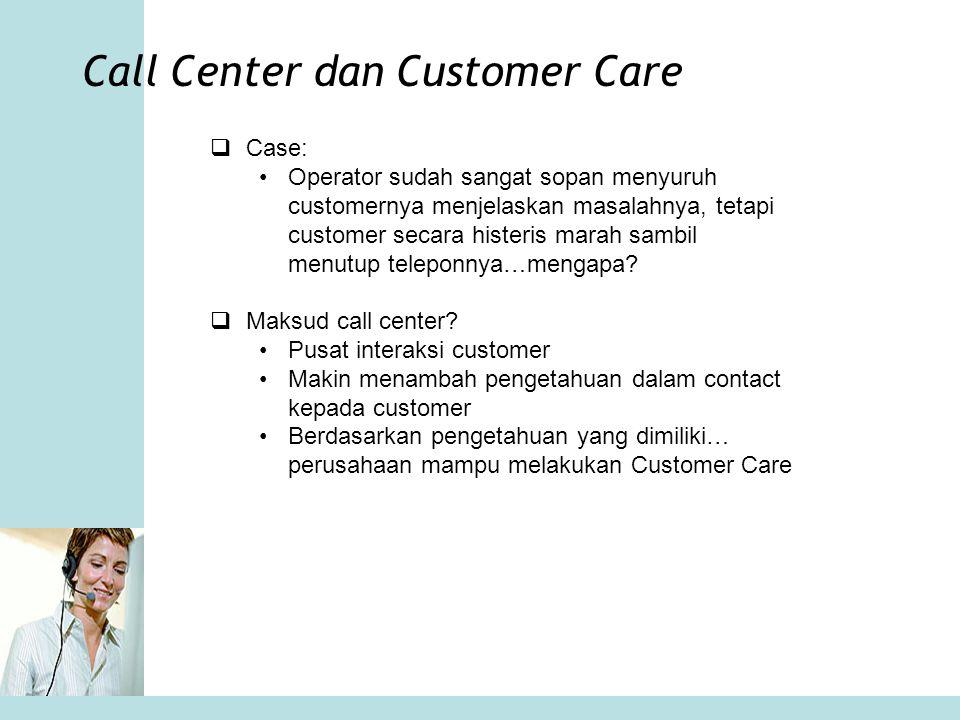 Call Center dan Customer Care  Case: •Operator sudah sangat sopan menyuruh customernya menjelaskan masalahnya, tetapi customer secara histeris marah