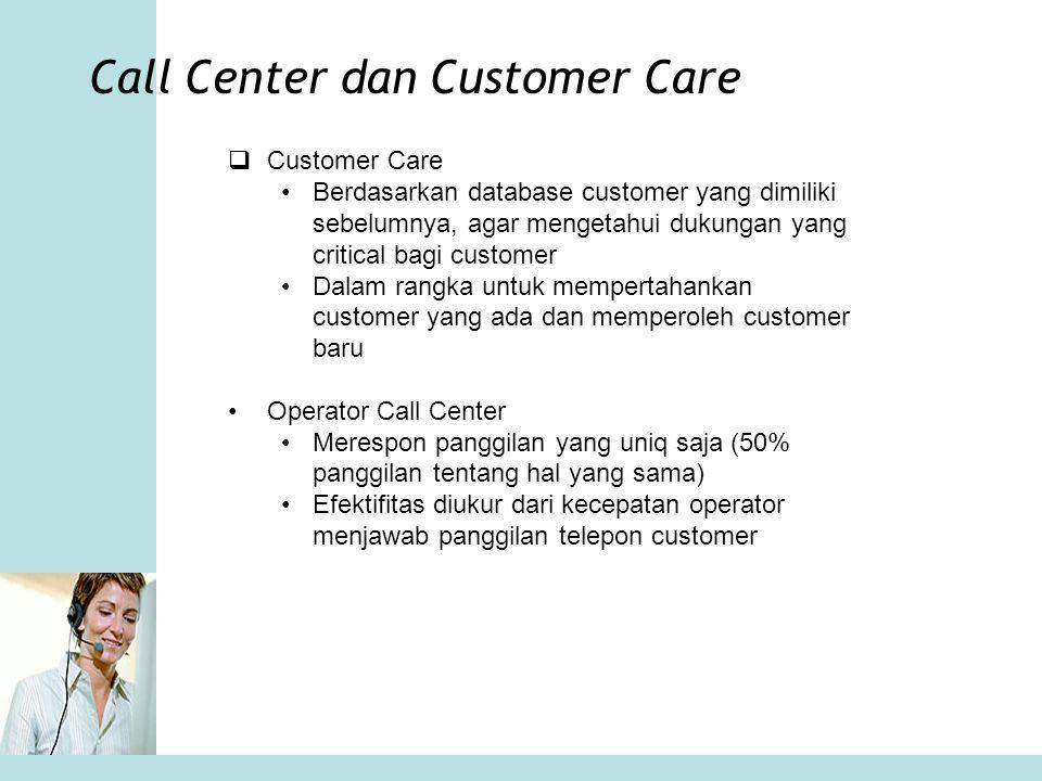 Call Center dan Customer Care  Customer Care •Berdasarkan database customer yang dimiliki sebelumnya, agar mengetahui dukungan yang critical bagi cus