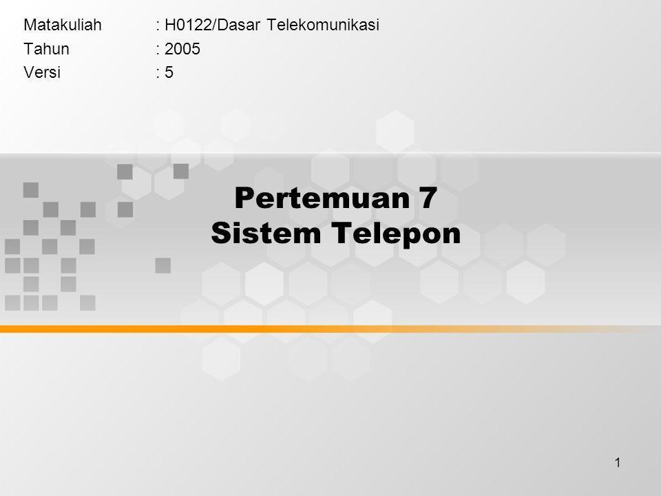 1 Pertemuan 7 Sistem Telepon Matakuliah: H0122/Dasar Telekomunikasi Tahun: 2005 Versi: 5