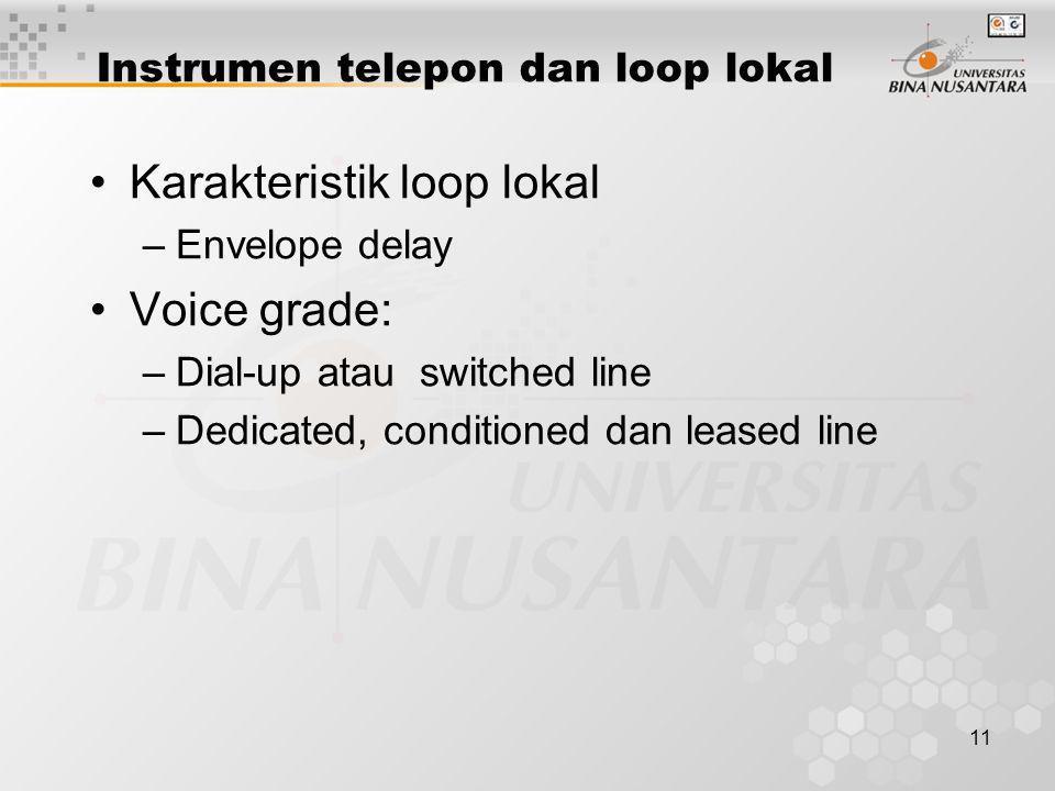 11 •Karakteristik loop lokal –Envelope delay •Voice grade: –Dial-up atau switched line –Dedicated, conditioned dan leased line Instrumen telepon dan l