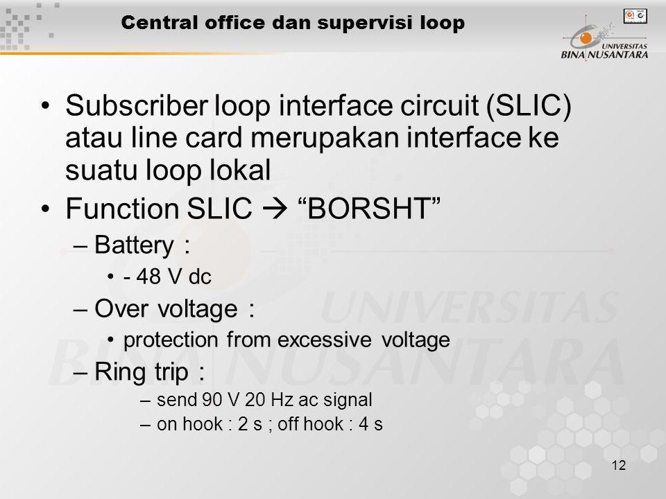 12 Central office dan supervisi loop •Subscriber loop interface circuit (SLIC) atau line card merupakan interface ke suatu loop lokal •Function SLIC 