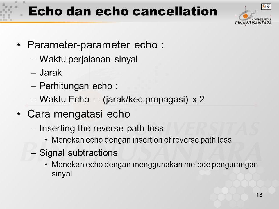 18 Echo dan echo cancellation •Parameter-parameter echo : –Waktu perjalanan sinyal –Jarak –Perhitungan echo : –Waktu Echo = (jarak/kec.propagasi) x 2