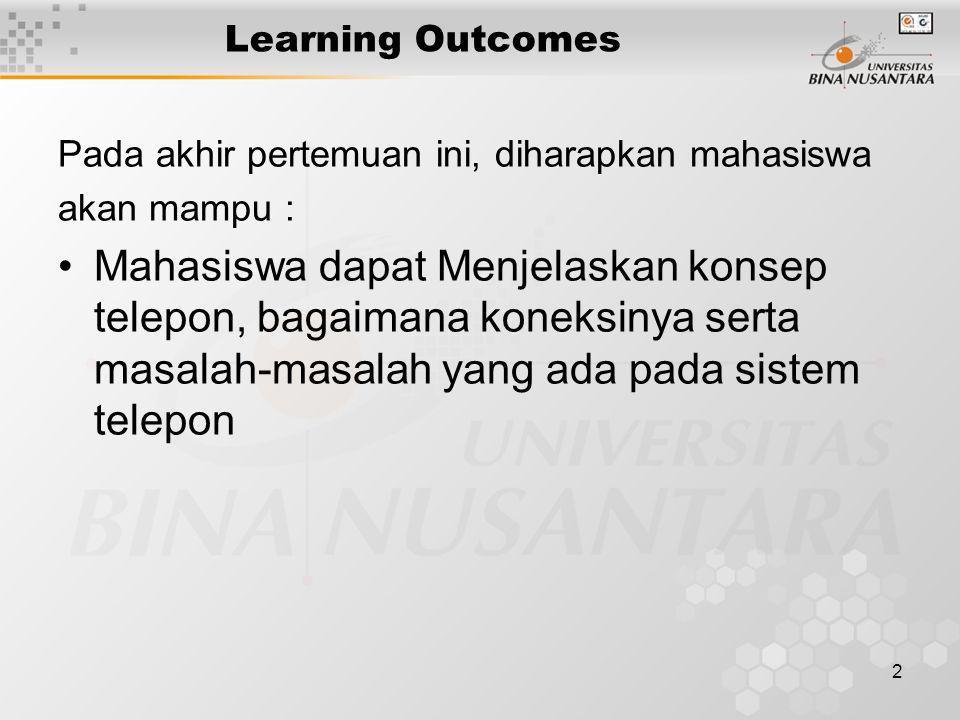 2 Learning Outcomes Pada akhir pertemuan ini, diharapkan mahasiswa akan mampu : •Mahasiswa dapat Menjelaskan konsep telepon, bagaimana koneksinya sert