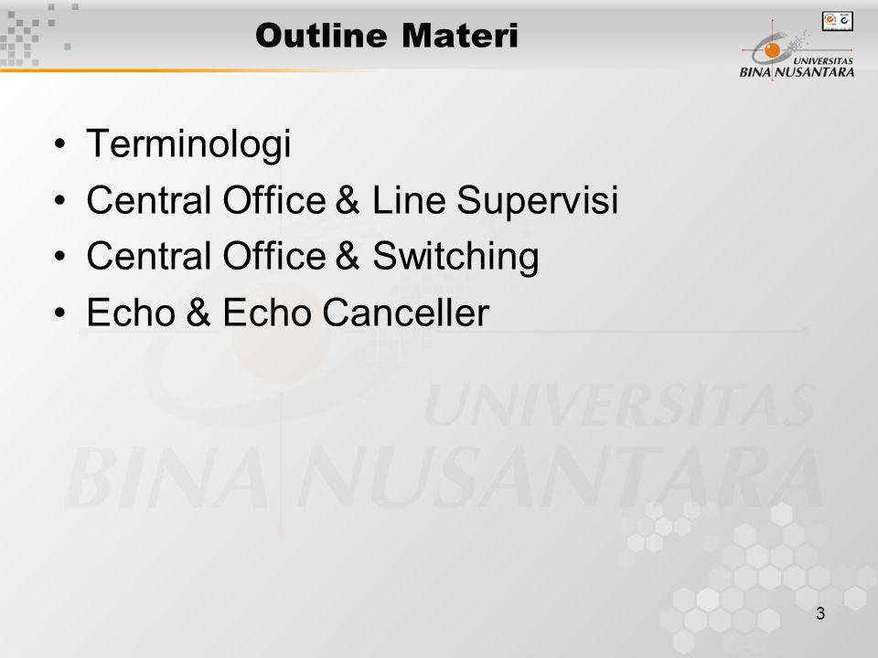 3 Outline Materi •Terminologi •Central Office & Line Supervisi •Central Office & Switching •Echo & Echo Canceller