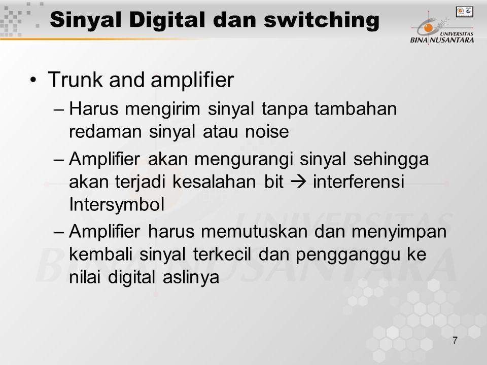 7 Sinyal Digital dan switching •Trunk and amplifier –Harus mengirim sinyal tanpa tambahan redaman sinyal atau noise –Amplifier akan mengurangi sinyal