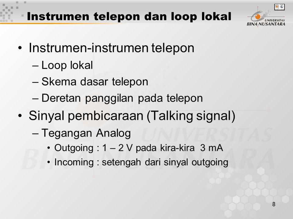 9 Instrumen telepon dan loop lokal •Level sinyal loop –Outgoing : - 10 dan 0 dBm (600  ) –Incoming : - 42 hingga – 4 dBm –Terminasi pada Central office : 600  (atau 900  ) •Dialing –Pulsa –Tone •Sistem telepon Bell •Dual-tone multi-frequency (DTMF)