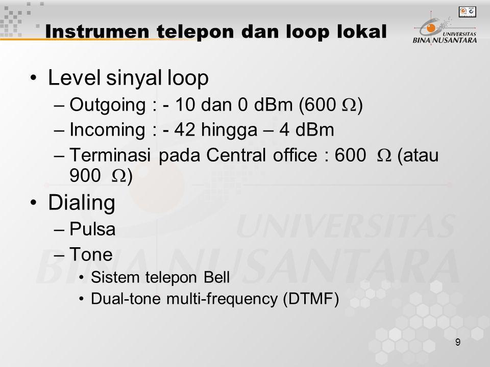 9 Instrumen telepon dan loop lokal •Level sinyal loop –Outgoing : - 10 dan 0 dBm (600  ) –Incoming : - 42 hingga – 4 dBm –Terminasi pada Central offi