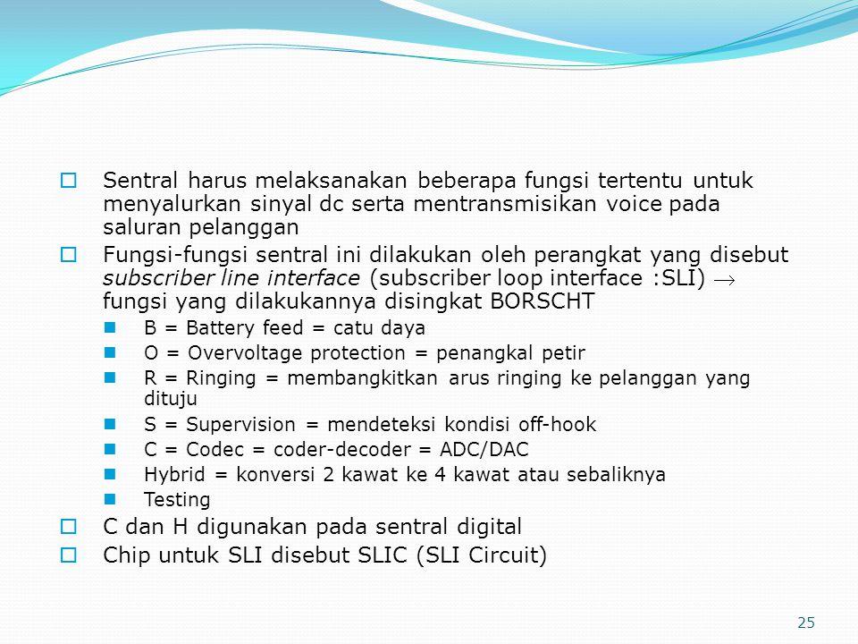 25  Sentral harus melaksanakan beberapa fungsi tertentu untuk menyalurkan sinyal dc serta mentransmisikan voice pada saluran pelanggan  Fungsi-fungs
