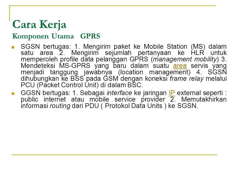 Cara Kerja Komponen Utama GPRS  SGSN bertugas: 1. Mengirim paket ke Mobile Station (MS) dalam satu area 2. Mengirim sejumlah pertanyaan ke HLR untuk