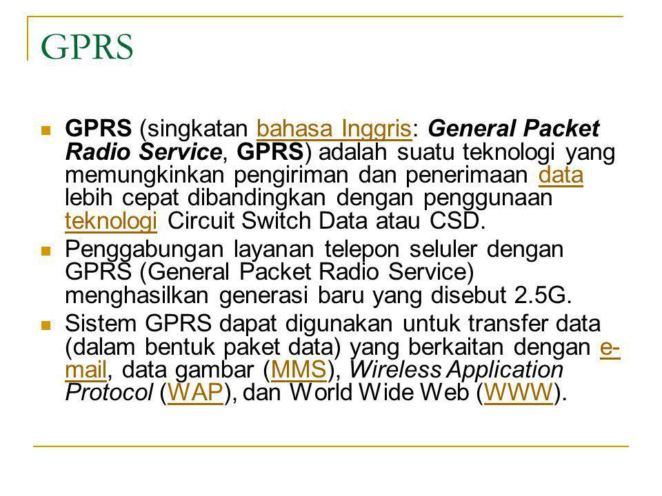 GPRS  GPRS (singkatan bahasa Inggris: General Packet Radio Service, GPRS) adalah suatu teknologi yang memungkinkan pengiriman dan penerimaan data leb