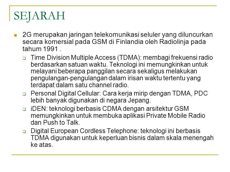 SEJARAH  2G merupakan jaringan telekomunikasi seluler yang diluncurkan secara komersial pada GSM di Finlandia oleh Radiolinja pada tahum 1991.  Time