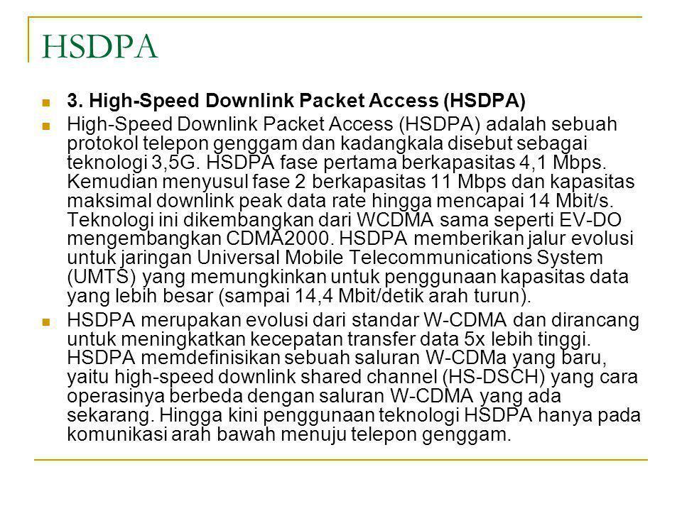 HSDPA  Kecepatan unduh datanya : - Di lingkungan perumahan teknologi ini dapat melakukan unduh data hingga berkecepatan 3,7 Mbps.