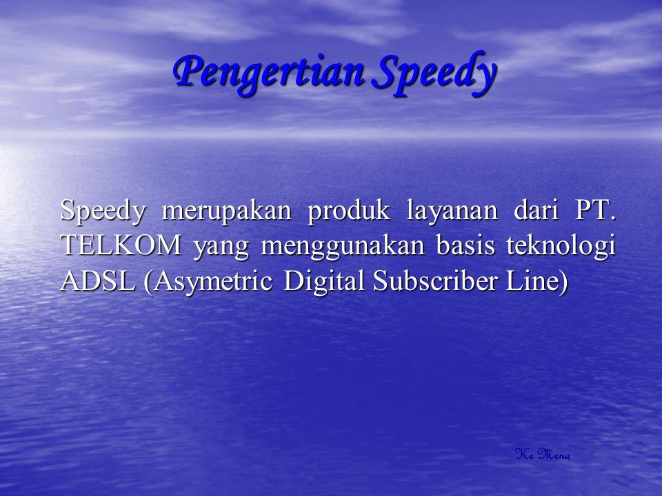 Konfigurasi Speedy DSLAM Struk EQN Port DSLAM Struk P R I M E R MODEM ADSL RKKP/DP KTB Soket/Roset Splitter Pesawat Telepon PC Ke Menu