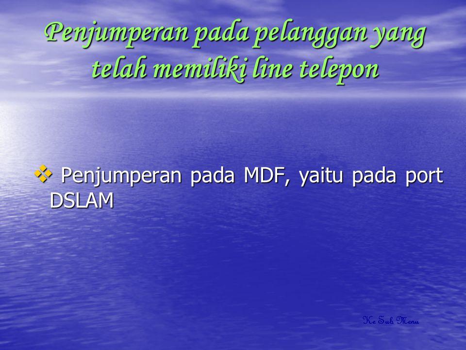 Penjumperan pada pelanggan yang belum memiliki line telepon  Penjumperan pada MDF  Penjumperan pada RK  Penjumperan pada KP/DP  Penjumperan pada KTB Ke Sub Menu