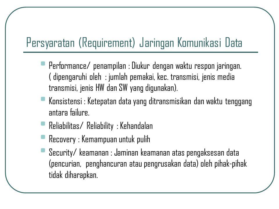 Persyaratan (Requirement) Jaringan Komunikasi Data • Performance/ penampilan : Diukur dengan waktu respon jaringan.