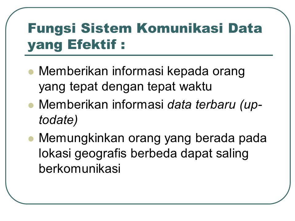 Fungsi Sistem Komunikasi Data yang Efektif :  Memberikan informasi kepada orang yang tepat dengan tepat waktu  Memberikan informasi data terbaru (up- todate)  Memungkinkan orang yang berada pada lokasi geografis berbeda dapat saling berkomunikasi
