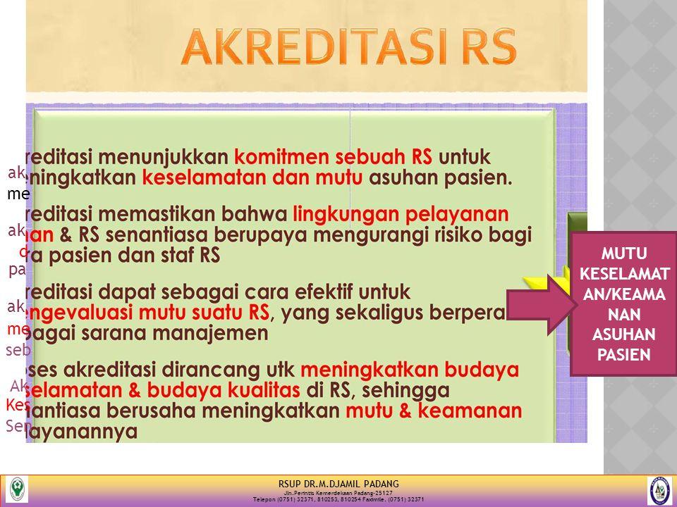 RSUP DR.M.DJAMIL PADANG Jln.Perintis Kemerdekaan Padang-25127 Telepon (0751) 32371, 810253, 810254 Faximile. (0751) 32371 MUTU KESELAMAT AN/KEAMA NAN