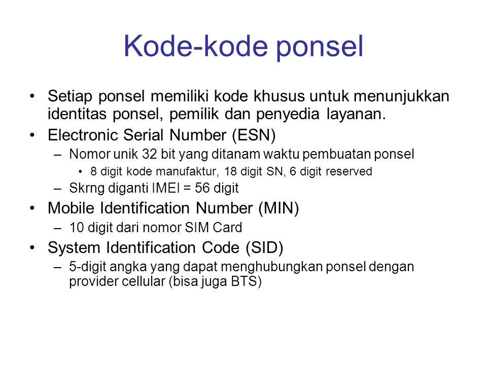 Kode-kode ponsel •Setiap ponsel memiliki kode khusus untuk menunjukkan identitas ponsel, pemilik dan penyedia layanan. •Electronic Serial Number (ESN)