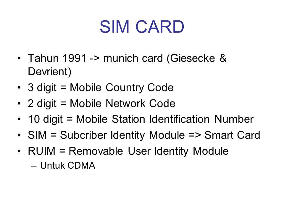 SIM CARD •Tahun 1991 -> munich card (Giesecke & Devrient) •3 digit = Mobile Country Code •2 digit = Mobile Network Code •10 digit = Mobile Station Ide