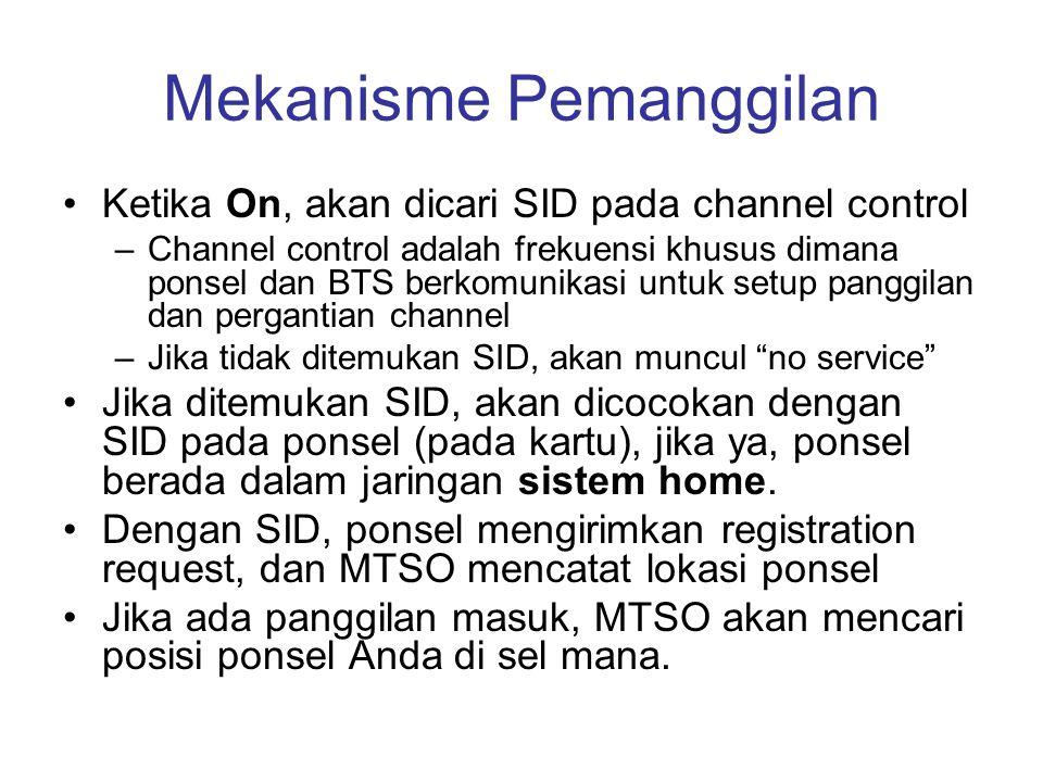Mekanisme Pemanggilan •Ketika On, akan dicari SID pada channel control –Channel control adalah frekuensi khusus dimana ponsel dan BTS berkomunikasi un