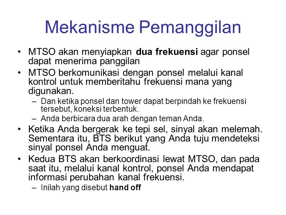 Mekanisme Pemanggilan •MTSO akan menyiapkan dua frekuensi agar ponsel dapat menerima panggilan •MTSO berkomunikasi dengan ponsel melalui kanal kontrol
