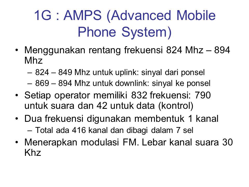 1G : AMPS (Advanced Mobile Phone System) •Menggunakan rentang frekuensi 824 Mhz – 894 Mhz –824 – 849 Mhz untuk uplink: sinyal dari ponsel –869 – 894 M
