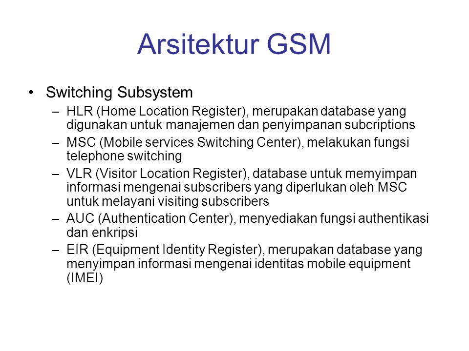 Arsitektur GSM •Switching Subsystem –HLR (Home Location Register), merupakan database yang digunakan untuk manajemen dan penyimpanan subcriptions –MSC