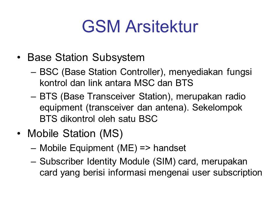 GSM Arsitektur •Base Station Subsystem –BSC (Base Station Controller), menyediakan fungsi kontrol dan link antara MSC dan BTS –BTS (Base Transceiver S