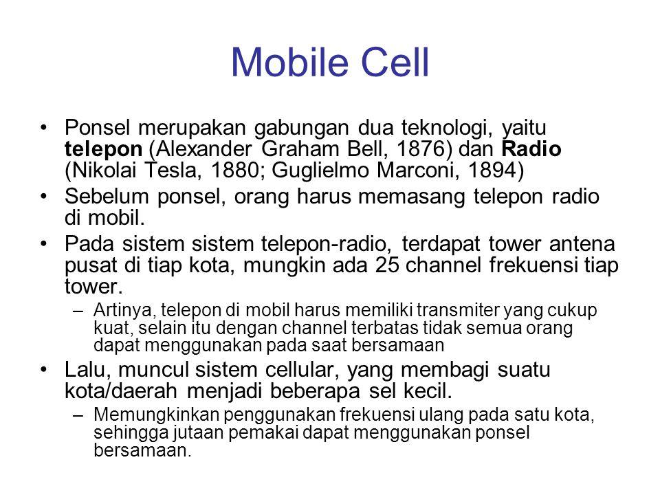 Mobile Cell •Ponsel merupakan gabungan dua teknologi, yaitu telepon (Alexander Graham Bell, 1876) dan Radio (Nikolai Tesla, 1880; Guglielmo Marconi, 1