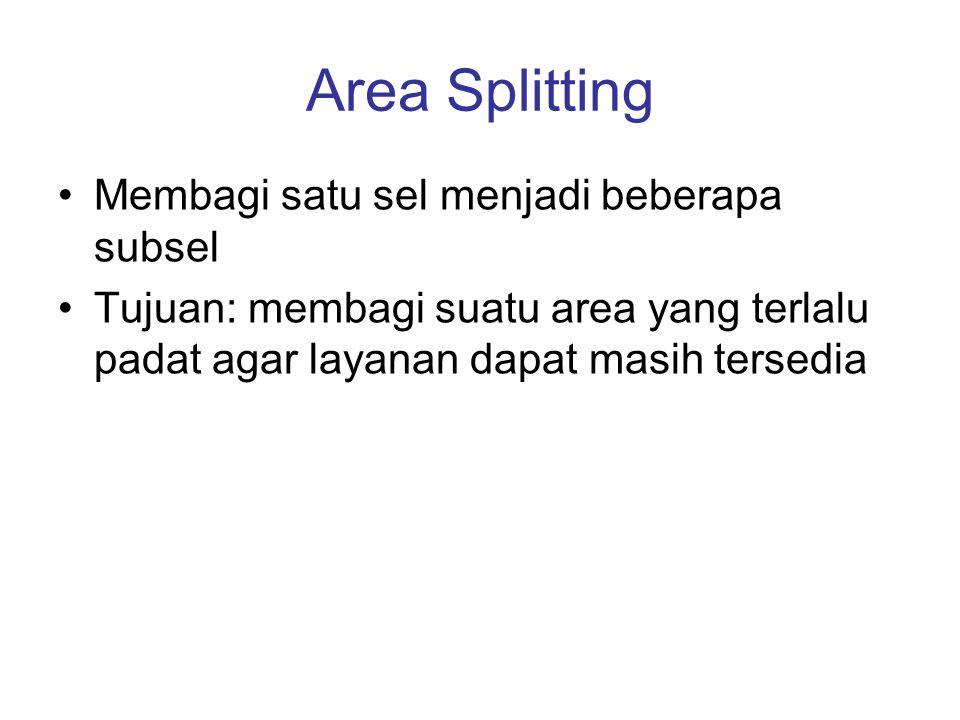Area Splitting •Membagi satu sel menjadi beberapa subsel •Tujuan: membagi suatu area yang terlalu padat agar layanan dapat masih tersedia